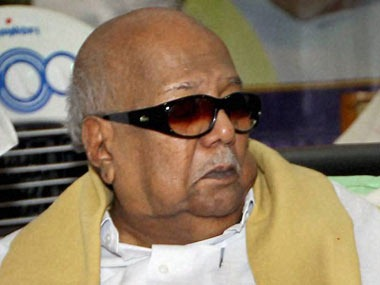 Karunanidhi at his birthday celebrations on Sunday. PTI