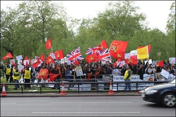 Tamil demonstrators outside the Park Lane Hilton Hotel on Monday