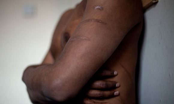 'Hari' describes being tortured in a hall he said had been designed for the purpose, including tables and chairs adapted for beatings and whippings. Photograph: Teri Pengilley for the Guardian