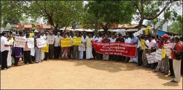 Political parties protest against SL military land grab in Vanni