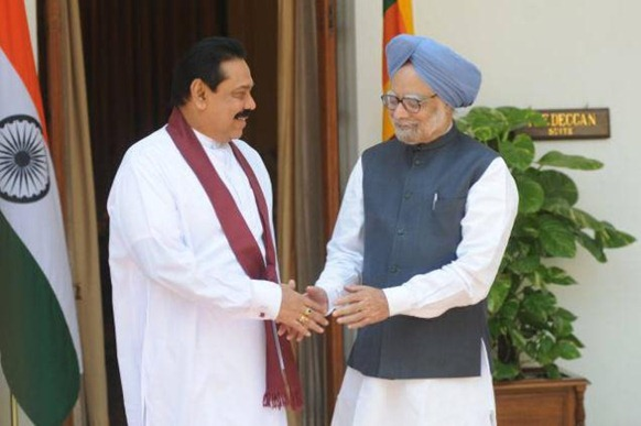 The Hindu Photo Library A 2010 photograph of Sri Lankan President Mahinda Rajapaksa with Prime Minister Manmohan Singh in New Delhi.