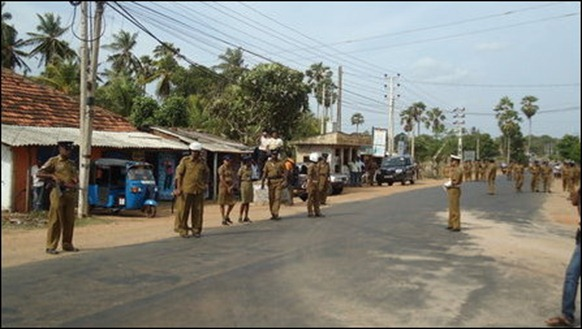 SL Police was deployed in large numbers in Vavuniyaa on the funeral day