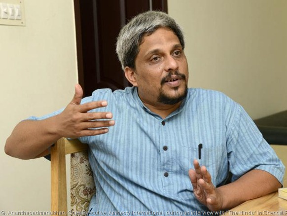 """G. Ananthapadmanabhan, Chief Executive, Amnesty International, during an interview with """"The Hindu"""" in Chennai. Photo: R. Ravindran"""