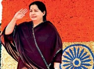 Chief minister J. Jayalalithaa during 66th Independence Day celebrations at Fort St George in Chennai, on Wednesday. pti
