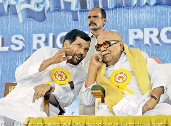 Ram Vilas Paswan, president of Lok Jana Sakthi, shares a word with M. Karunanidhi, DMK chief at the TESO conference in Chennai on Sunday. The meet got up to discuss the plight of Tamils in Sri Lanka, and demanded the immediate intervention of the UN on the issue of their rights and rehabilitation. - DC