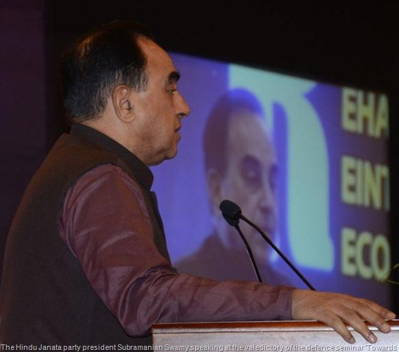 The Hindu Janata party president Subramanian Swamy speaking at the valedictory of the defence seminar 'Towards lasting peace and stability,' in Colombo on Friday. Photo: R.K. Radhakrishnan