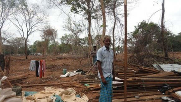 The villagers say they were relocated to a patch of cleared jungle - BBC