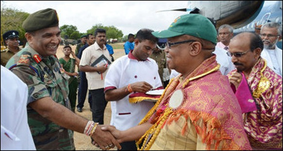 Commonwealth parliamentary delegates visiting Jaffna, received by the occupying Sinhala military commander Maj Gen Mahinda Hathurusinghe [Photo courtesy: Sri Lanka Army in Jaffna]