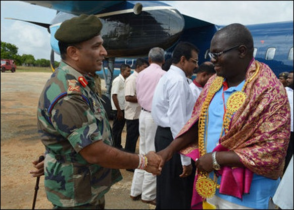 SL military is the authority to receive foreign dignitaries in occupied Jaffna. India sent the largest contingent of parliamentarians to the Colombo meet this week [Photo courtesy: Sri Lanka Army in Jaffna]