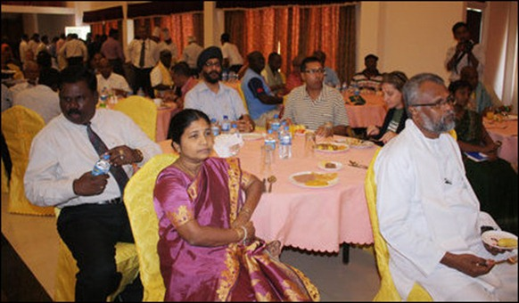 SL minister Douglas Devananda seeted in the front was the host of the commonwealth parliamentary delegates in Jaffna.