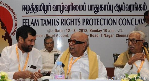 DMK president M. Karunanidhi with Ram Vilas Paswan and DMK general secretary K. Anbazhagan at the TESO Conference in Chennai recently. Photo: R Ragu