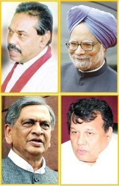 Mahinda Rajapaksa, Manmohan Singh, S. M. Krishna and Mahinda Samarasinghe