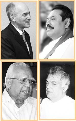 Charles Petrie, Mahinda Rajapaksa, R. Sampanthan and Ranil Wickremesinghe