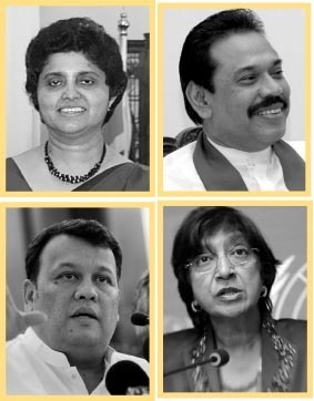 Shirani Bandaranayake, Mahinda Rajapaksa, Mahinda Samarasinghe and Navi Pillay