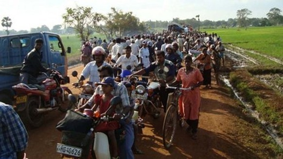 Hundreds of thousands of Tamils ended up trapped in a tiny strip of land