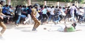 Police assaulting Jaffna University students
