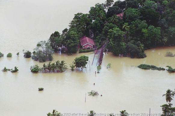 A view of the Sri Lankan town of Ratnapura in May 2003 after the worst flooding in 56 years. More than 300 people died. [EPA]