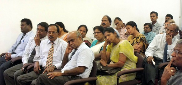 The mood of the Jaffna University academics listening to the occupying SL Commander Maj Gen Mahinda Hathurusinghe at Palaali on Friday