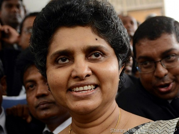 (File photo) Sri Lanka's top judge Shirani Bandaranayake - AFP
