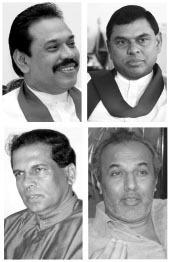 Mahinda Rajapaksa, Basil Rajapaksa, Maithripala Sirisena and Rauf Hakeem