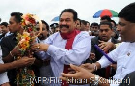 Sri Lanka President Mahinda Rajapakse at Katunayake Airport on December 3, 2010 (AFP/File, Ishara S.Kodikara)