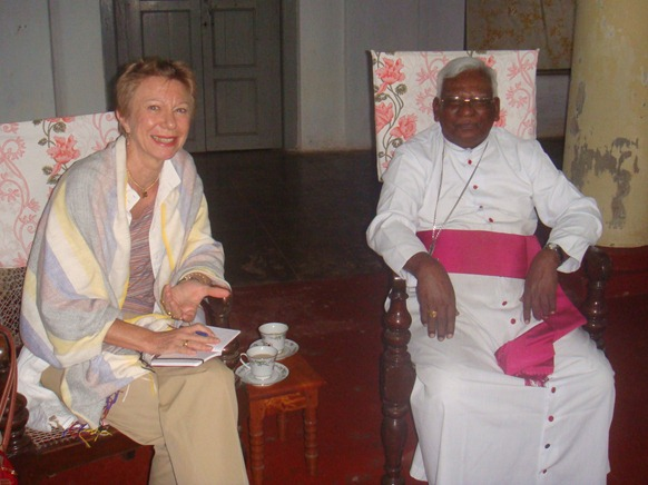 French Ambassdor Christine Robichon with Mannaar Bishop Rt Rev Dr Rayappu Joseph