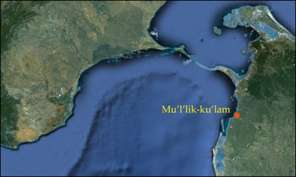 Location of Mu'l'likku'lam [Map courtesy: Google Earth, Legend by TamilNet]