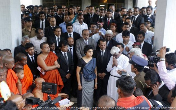 AP Chief Justice Shirani Bandaranayake leaving the court to appear before a Parliamentary committee on impeachment charges. A file photo.