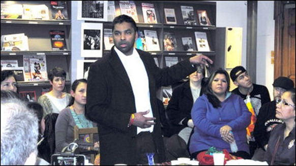 Tamil activist Gobi Sivanthan, addressing the participants of the event at Bishopgate Library, on Liverpool Street, London