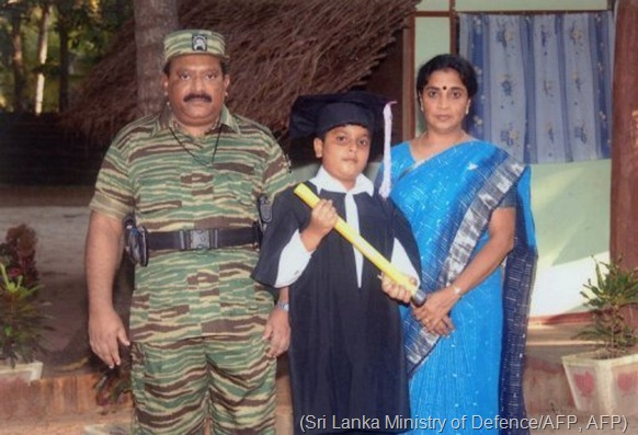 Picture said to show Velupillai Prabhakaran (left), wife Mathivathani and their son Balachandran at an undisclosed place (Sri Lanka Ministry of Defence/AFP, AFP)