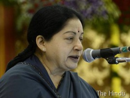 The Hindu A file picture of Tamil Nadu Chief Minister Jayalalithaa at a function in Chennai. Photo: M. Vedhan.