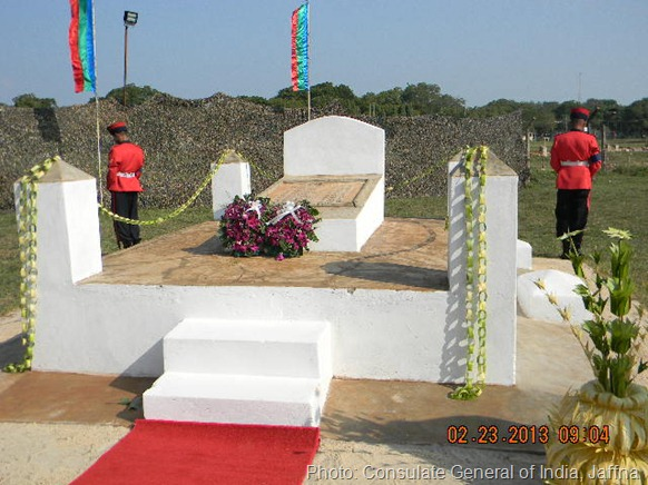 New sources in Jaffna say that the memorial was 'discovered' along the border of the Sinhala Military Zone (SMZ). The low resolution photos released by the Indian consulate are not clear on the background of the locality. Something screens the background. [Photo: Consulate General of India, Jaffna]