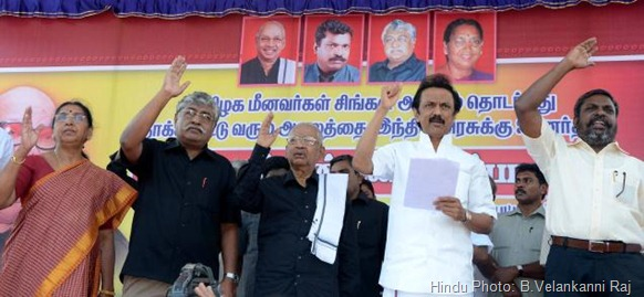 FOR A CAUSE: (From right) Thol Thirumavalavan, leader, VCK, M.K.Stalin, treasurer, DMK, K.Veeramani, leader, Dravidar Kazhagam, Suba Veerapandian, Subbulakshmi Jagadeesan, former union minister, at the demonstration organised by TESO in Nagapattinam on Tuesday. Photo: B.Velankanni Raj