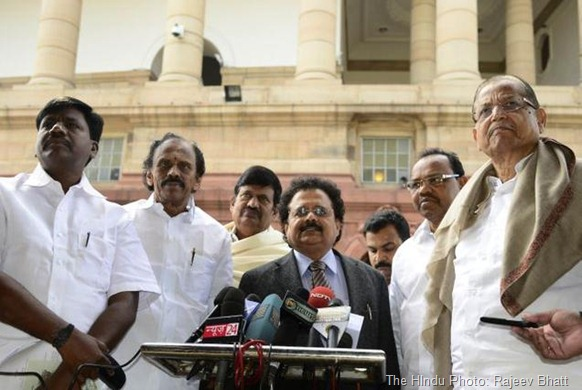 The HIndu Tamil Nadu Congress MPs at the Parliament House while Union Minister for Home, Sushil Kumar Shinde was giving his statement in Lok Sabha and Rajya Sabha on Hyderabad Bomb Blast case at Parliament House in New Delhi. Photo: Rajeev Bhatt