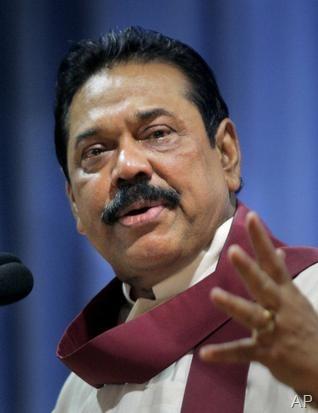 AP - A file photo of Sri Lankan President Mahinda Rajapaksa.