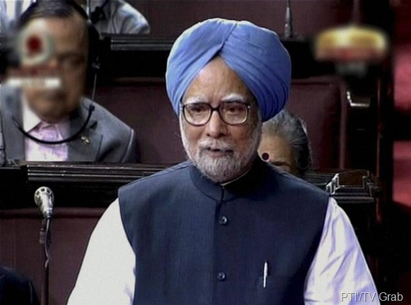 PTI'/TV Grab Prime Minister Manmohan Singh speaks in the Rajya Sabha in New Delhi on Friday.