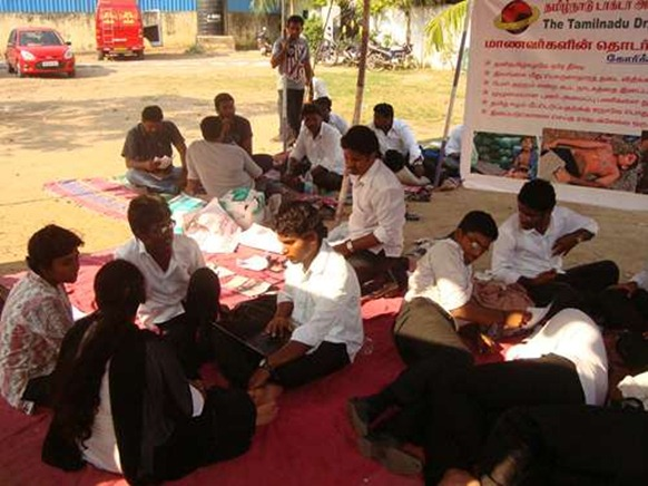 Protest at Ambedkar Law College, Chennai