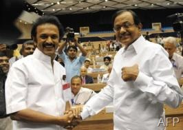 M. K. Stalin (L) is shown in New Delhi, August 16, 2009 (AFP/File, Prakash Singh)
