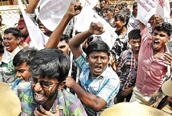 The Hindu GATHERS MOMENTUM: Members of the Students Federation of India staging a demonstration in Madurai on Tuesday. Photo: S. James
