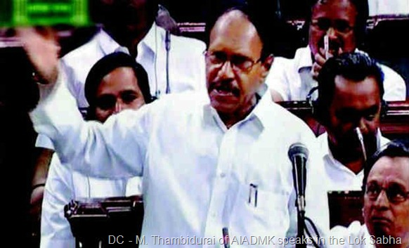 M. Thambid­urai of AIADMK speaks in the Lok Sabha in New Delhi on Thursday.