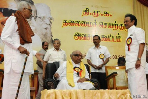 The Hindu DMK president M. Karunanidhi with party General Secretary K. Anbazhagan and Treasurer M.K. Stalin at the Working Comittee Meeting in Chennai on Monday. Photo: R. Ragu