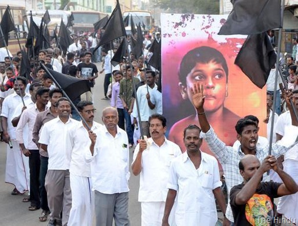 The Hindu Widespread protests across Tamil Nadu for over a month have called for action against Sri Lanka for alleged war crimes and atrocities against Tamils during the Eelam war.Photograph shows a rally in Thanjavur. Photo: B Velankanni Raj