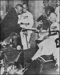 Lord Soulbury and DS Senanayake inauguarating the first Parliament of the so-called independent Ceylon