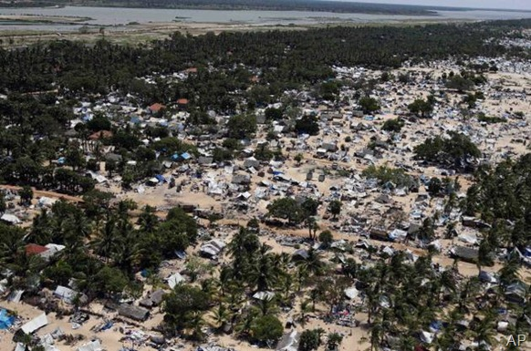 AP In this May 23, 2009, photo, the abandoned devastation is seen in this aerial photo showing part of the former conflict zone on the north east coast of the Jaffna peninsula in Sri Lanka.