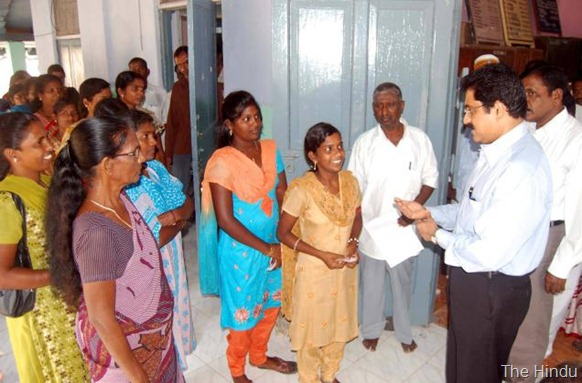 THE HINDU B.Anand, Commissioner for Rehabilitation interacting with Sri Lankan Tamil refugees at the Mandapam camp office in Ramanathapuram district, Tamilnadu on April 9, 2013. Photo:L_Balachandar