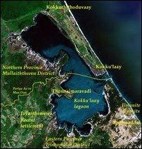 The location of Kokku'laay village and lagoon. [Satellite map courtesy: Google Earth]