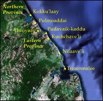 The Eastern coast from Kokku'laay to Trincomalee [Satellite Image courtesy: Google Earth. Legend by TamilNet]
