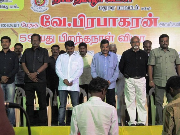 Naam Thamizhar Kadchi marked LTTE leader Pirapaharan's 59th birth day in Mathuarai