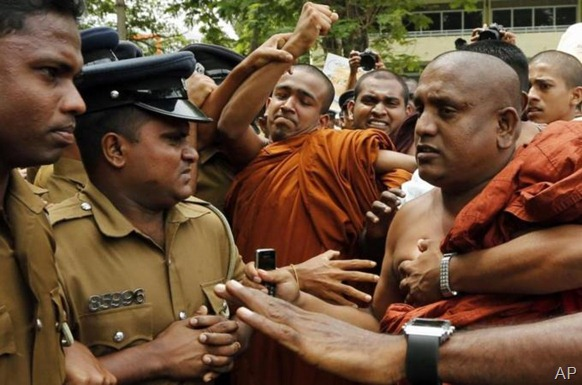 Ravana Balaya has been accused of attacking mosques, churches and Muslim shops [File: AP]