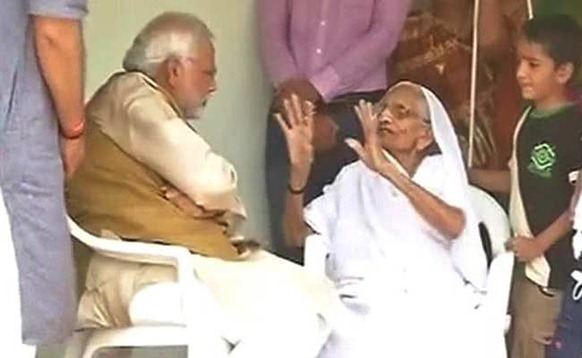 Narendra Modi meets his mother in Gandhinagar